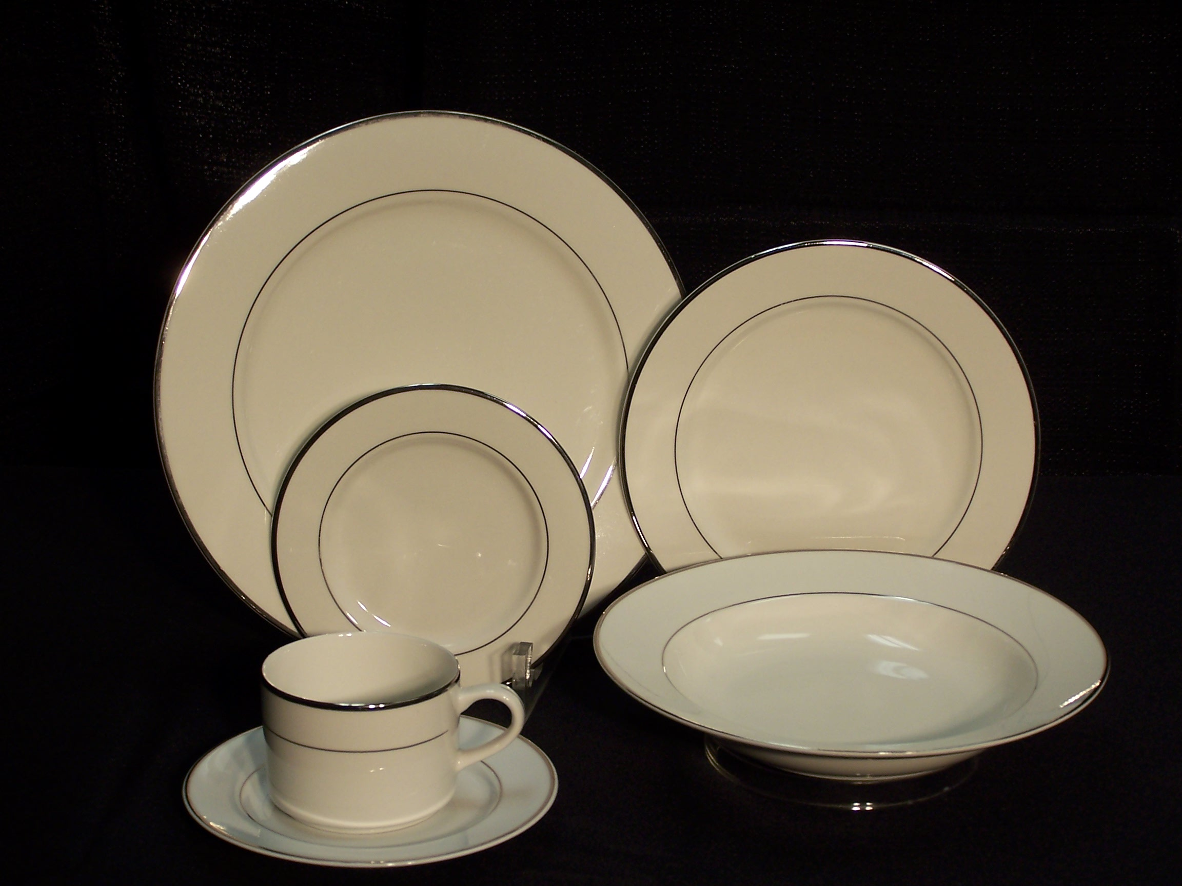 Furniture Rental Indianapolis White China With Silver Trim Plates, 10 - Indianapolis ...